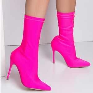 Shoes - Hot Pink Sock Boots